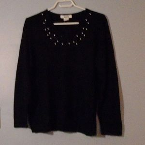 TanJay sweater black with sequins & pearls PL
